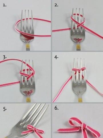como hacer lazos con un tenedor facil y rapido