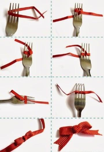 como hacer lazos con un tenedor paso a paso
