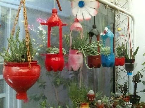 floreros con botellas plasticas para jardin