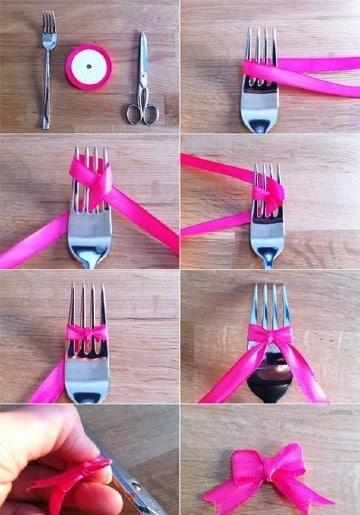 imagenes de como hacer lazos con un tenedor