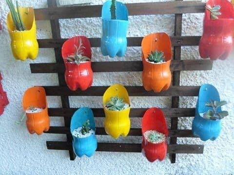 imagenes de floreros con botellas plasticas