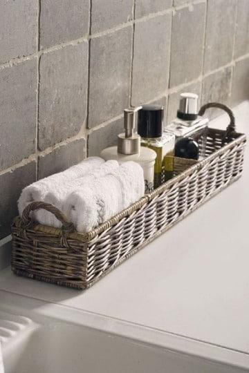 canastos de mimbre para baño pequeño