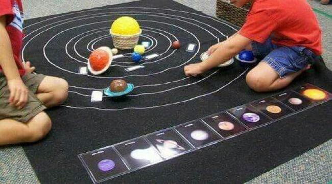 como hacer sistema planetario para niños
