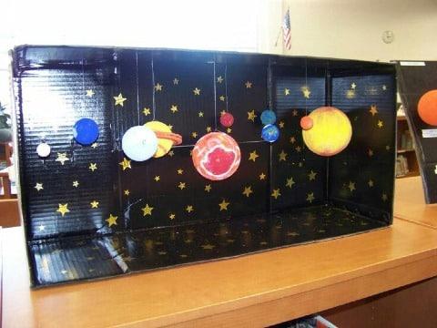 como hacer un sistema solar reciclado con carton