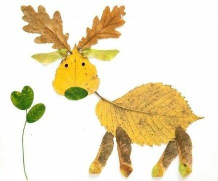 animales hechos con hojas secas para niños