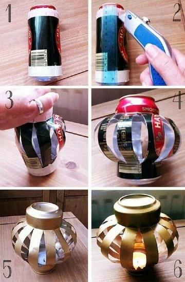 artesanias con latas de cerveza paso a paso