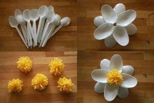 como hacer flores con material reciclado paso a paso