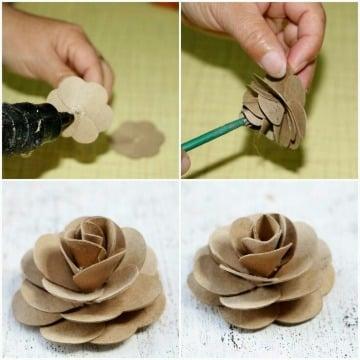 como hacer flores con rollos de papel