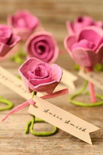 flores con carton de huevo faciles de hacer