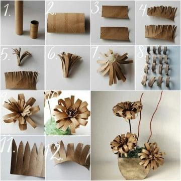 flores con rollos de papel paso a paso