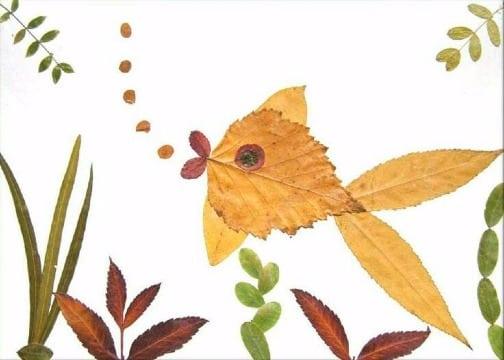 imagenes de animales hechos con hojas secas