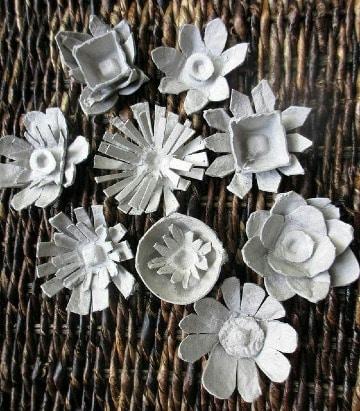 modelos de flores con carton de huevo