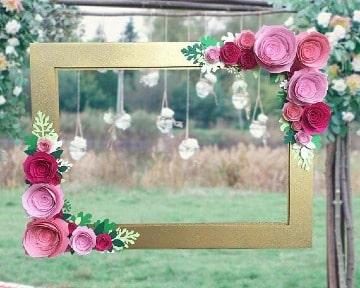 modelos de marcos con flores de papel