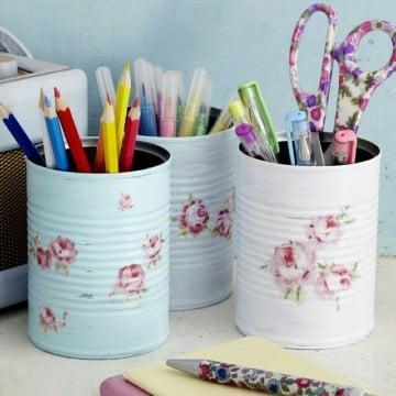 reciclado de latas de durazno para niños