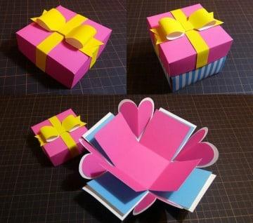 como hacer cajitas de cartulina de colores
