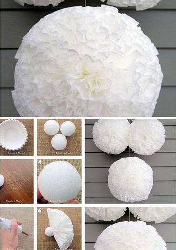 como hacer pompones con papel gigantes