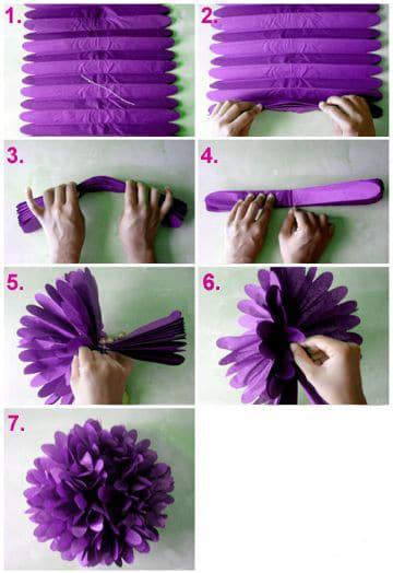 como hacer pompones con papel paso a paso