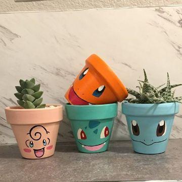 fotos de macetas pequeñas decoradas
