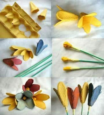 manualidades con cajas de huevo flores