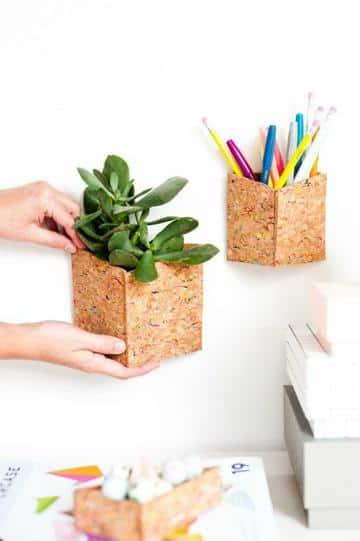 manualidades con laminas de corcho caja pequeña