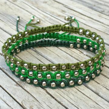 pulseras de hilo macrame con perlas