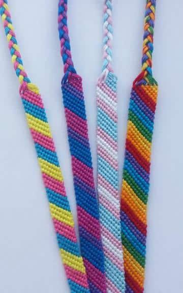 pulseras de hilo macrame de colores