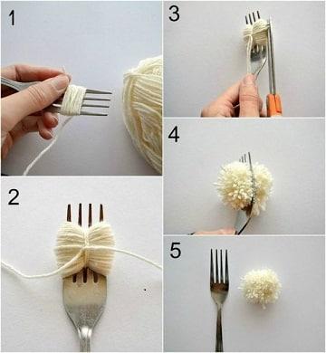 como hacer pompones de lana con tenedor