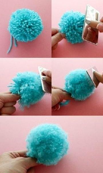 como hacer pompones de lana facil
