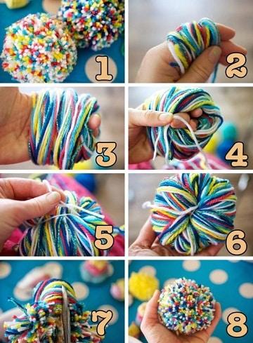 como hacer pompones de lana paso a paso