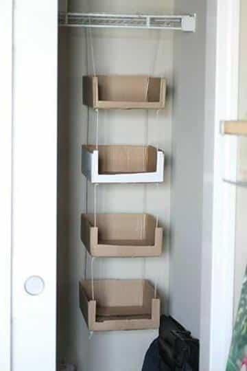 como hacer una zapatera de carton en closet 1