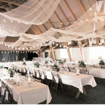 decoracion en telas para matrimonio con luces
