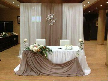 decoracion en telas para matrimonio mesa