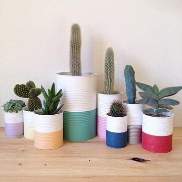 imagenes de macetas recicladas de latas