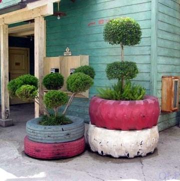 maceteros reciclados para jardin de llantas