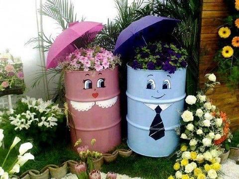maceteros reciclados para jardin grandes