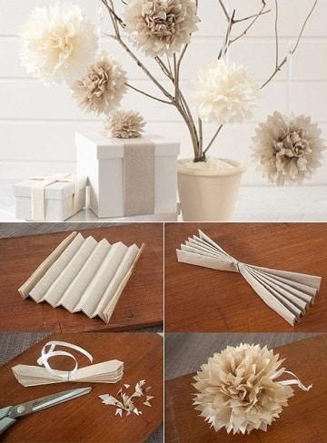 como hacer pompones de papel seda decoracion