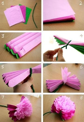 como hacer pompones de papel seda flor
