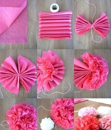 como hacer pompones de papel seda medidas