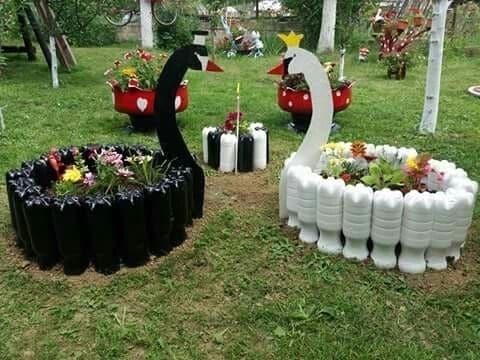 figuras con botellas de plastico para el jardin