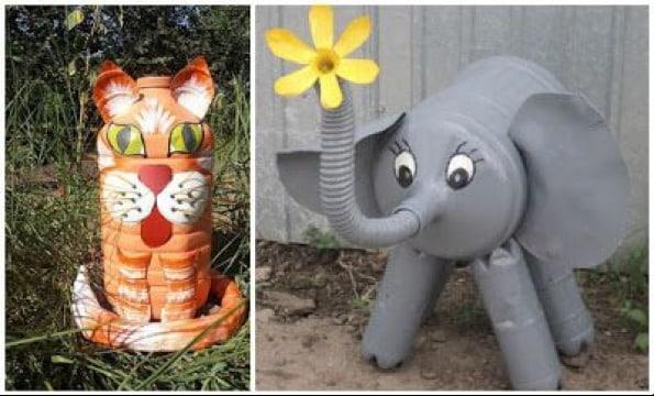 figuras con botellas de plastico recicladas
