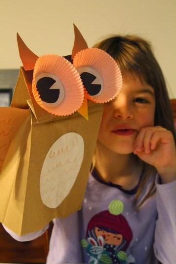 manualidades con bolsas de papel para niños