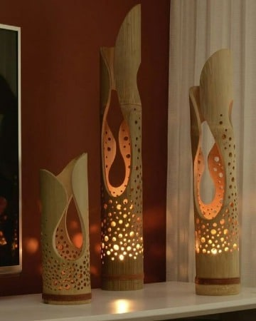 adornos hechos de bambu para el hogar