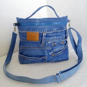 como hacer bolsos de jean reciclados
