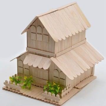 como hacer casas de palitos de madera