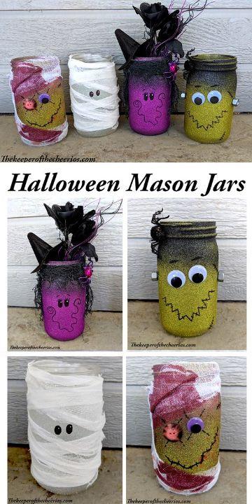 frascos de mermelada decorados para halloween