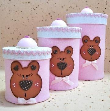 latas decoradas con foami para bebe