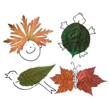 dibujos con hojas secas para niños