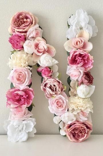 letra de carton decoradas con flores