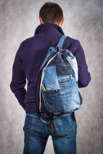 mochilas de jeans recicladas para hombres