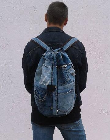 modelos de mochilas de jeans recicladas